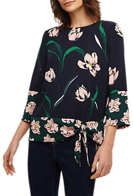 Phase Eight Leto Patchwork Floral Blouse, Navy/Multi