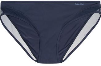 Calvin Klein Underwear - Naked Touch Tulle-trimmed Stretch-satin Briefs - Storm blue $40 thestylecure.com