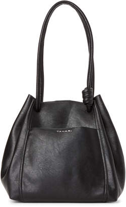 Tahari Black Montreal Drawstring Shoulder Bag