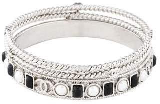 Chanel Faux Pearl Braided Bangle Set