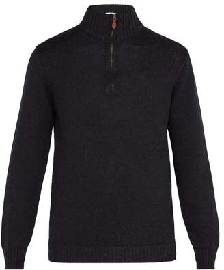 Blend of America Inis Meáin - High Neck Half Zip Alpaca Wool Sweater - Mens - Charcoal