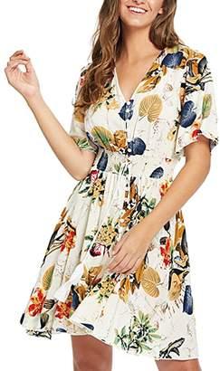 WO-STAR Women's Button up Split Bohemian Floral Print Flowy Party Long Maxi Dress S