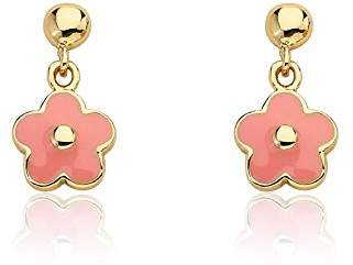 "Little Miss Twin Stars""Frosted Flowers"" 14k Gold-Plated Small Hanging Enamel Flower Earring"