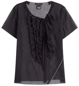 Marc Jacobs Cotton Voile Ruffle Cap Sleeve Top