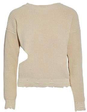 IRO Cutout Distressed Ribbed Cotton Sweater