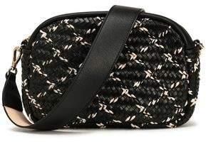 Maje Braid-Trimmed Woven Leather Shoulder Bag