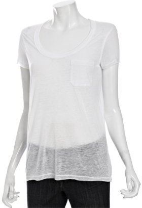 Vince white burnout jersey scoop neck pocket t-shirt