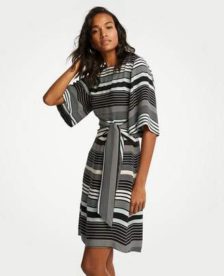Ann Taylor Petite Striped Tie Waist Shift Dress