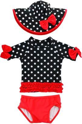 RuffleButts Two-Piece Rashguard Swimsuit & Hat Set