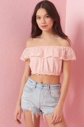 Garage Cropped Lace Bubble Top