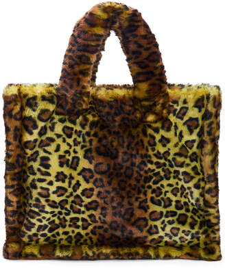 Stand Studio Lola Large Leopard-Print Faux-Fur Tote
