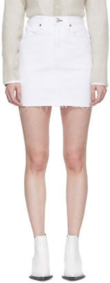 Rag & Bone White Moss Denim Miniskirt