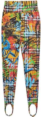 Burberry Graffiti Print Check Leggings