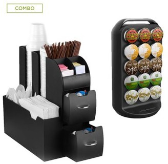 Mind Reader K-Cup Carousel and Coffee Condiment Caddy Organizer, Coffee Pod Holder, Capacity 30 K-Cups, Black