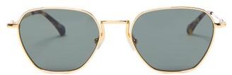 Linda Farrow X Alessandra Rich Hexagonal Metal Sunglasses - Womens - Green