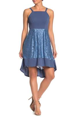 Just For Wraps Lace Mixed Hi-Lo Fit and Flare Dress