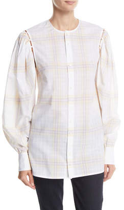 Calvin Klein Button-Front Plaid Cotton Shirt with Detachable Puffy Sleeves