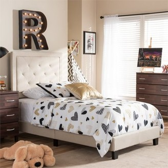 Baxton Studio Generic Paris Modern and Contemporary Grey Fabric Upholstered Twin Size Tufting Platform Bed