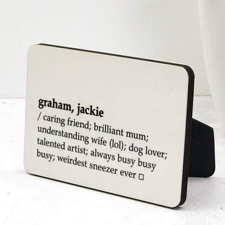 XOXO Personalised Dictionary Definition Mini Message Board