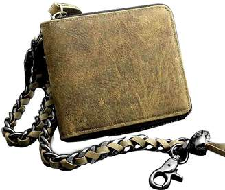 vogueteen Mens Vintage Biker Leather Zipper Coin Money Credit Card Wallet w/ Metal Chain
