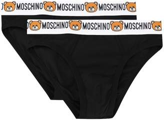 Moschino pack of 2 teddy logo waistband briefs