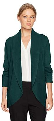 Sag Harbor Women's Petite Long Sleeve Curved Hem Cardigan