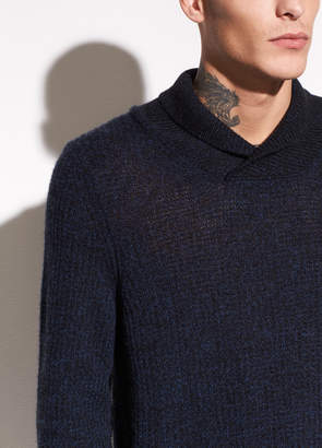 Vince Thermal Cashmere Shawl Collar Pullover