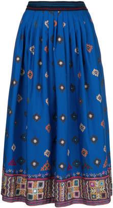 Max Mara embroidered appliqué pleated skirt