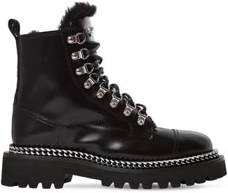 Balmain 30mm Leather & Shearling Army Boots