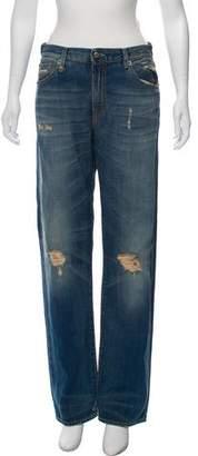 R 13 Distressed High-Rise Boyfriend Jeans