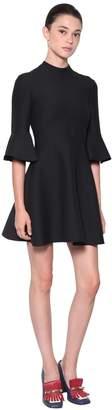 Valentino Crepe Silk & Wool Dress W/ Ruffles