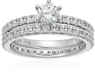 Swarovski Platinum Plated Sterling Silver Zirconia Round Brilliant Cut Two-Piece Bridal Ring Set