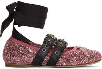 Miu Miu Pink Double Bands Glitter Ballerina Flats