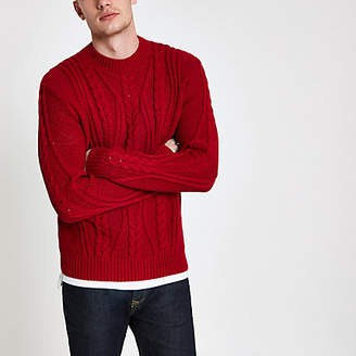 River Island Red chunky knit cable knit sweater