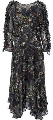 Preen by Thornton Bregazzi Ermin Ruffle-Trimmed Devoré Silk-Blend Chiffon Midi Dress
