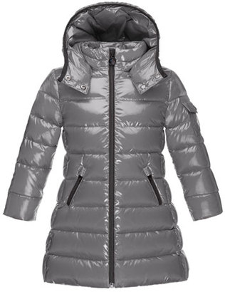 Moncler Moka Down Puffer Coat, Gray, Size 4-6 $495 thestylecure.com