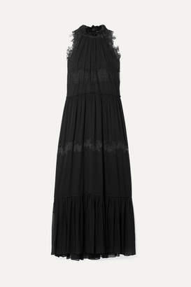 3.1 Phillip Lim Lace-trimmed Stretch-silk Crepon Maxi Dress - Black