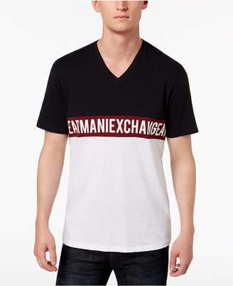 Armani Exchange Men's Colorblocked Logo Graphic V-Neck T-Shirt