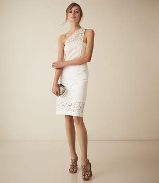 Reiss SOPHIA ONE SHOULDER LACE DRESS White