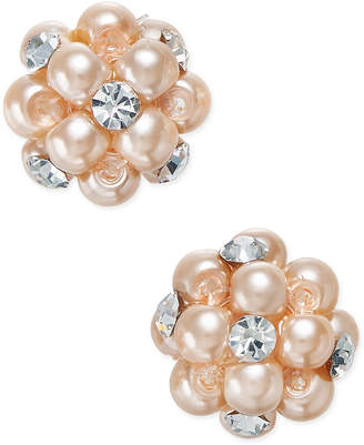 Charter Club Imitation Pearl and Crystal Cluster Earrings