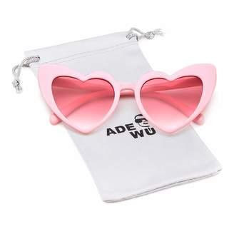 0e7527f16d25 Cat Eye ADEWU Heart Sunglasse Vintage Retro Oversized Sunglasses