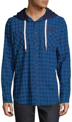 PRPS Men's Check Cotton Hooded Button-Down Shirt