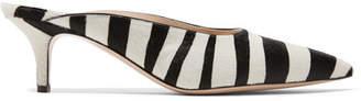 Gianvito Rossi 55 Zebra-print Calf Hair Mules - Zebra print