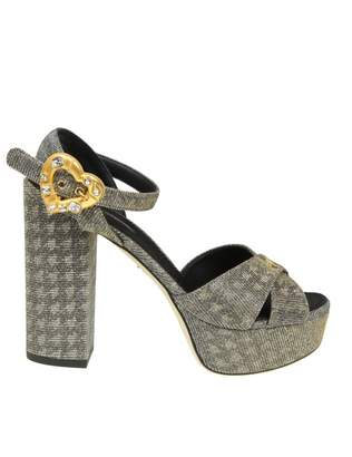 Dolce & Gabbana Sandal Keira In Lurex Fabric Color Silver / Gold