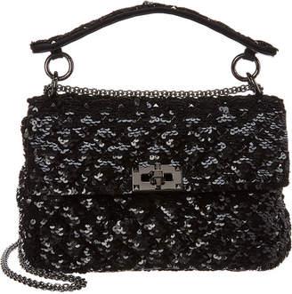 Valentino Embroidered Spike Sequin Shoulder Bag