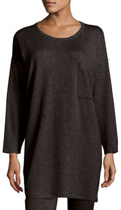 Eileen Fisher Long-Sleeve Fleece Tunic with Drama Pocket, Petite $168 thestylecure.com