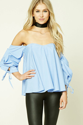 FOREVER 21+ Pinstripe Off-the-Shoulder Top $22.90 thestylecure.com