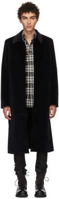 Kozaburo Navy Velvet Bal Collar Coat