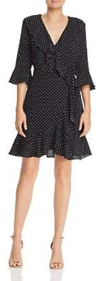 Adrianna Papell Ruffled Dot-Print Dress