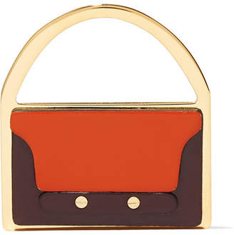 Marni Gold-tone Leather Brooch - Orange